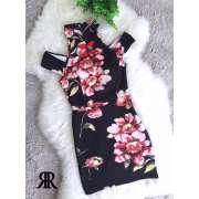 高品质黑色复古印花连身裙