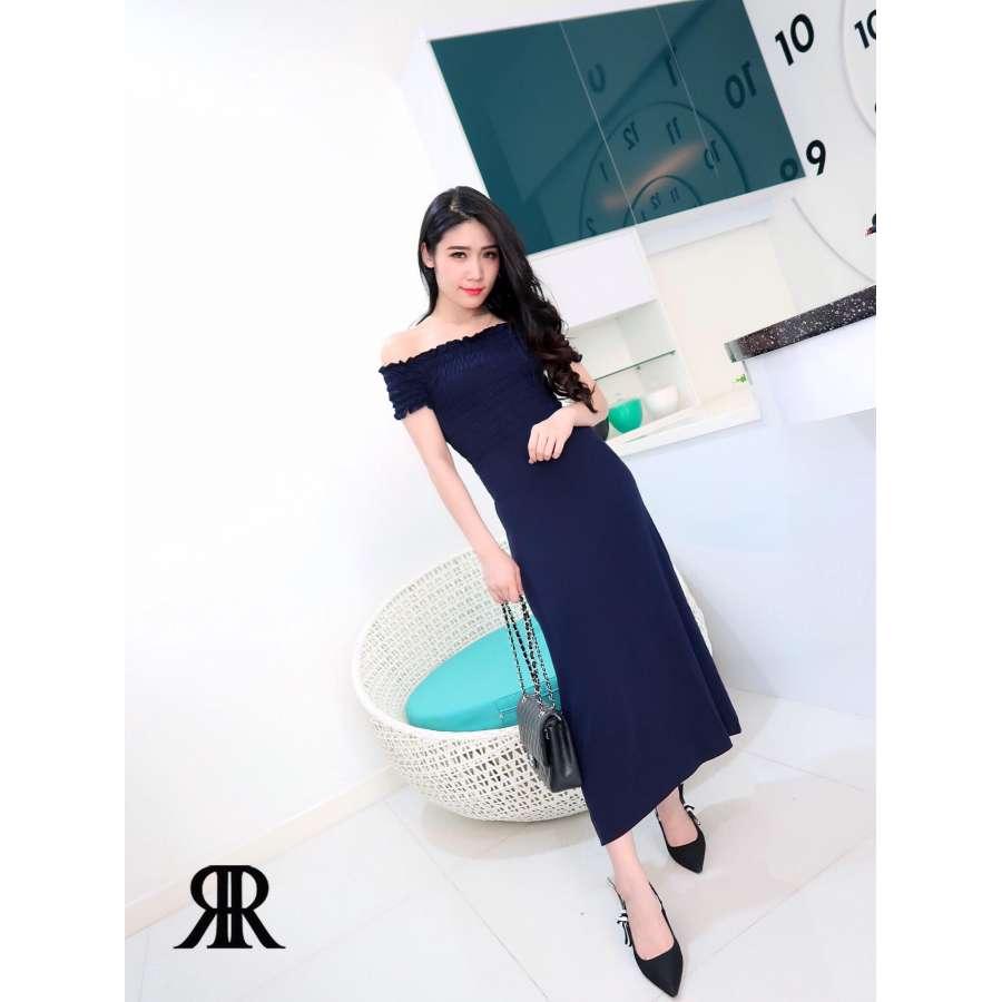 70658dc2517 Elegant solid color slitted collar dinner dress