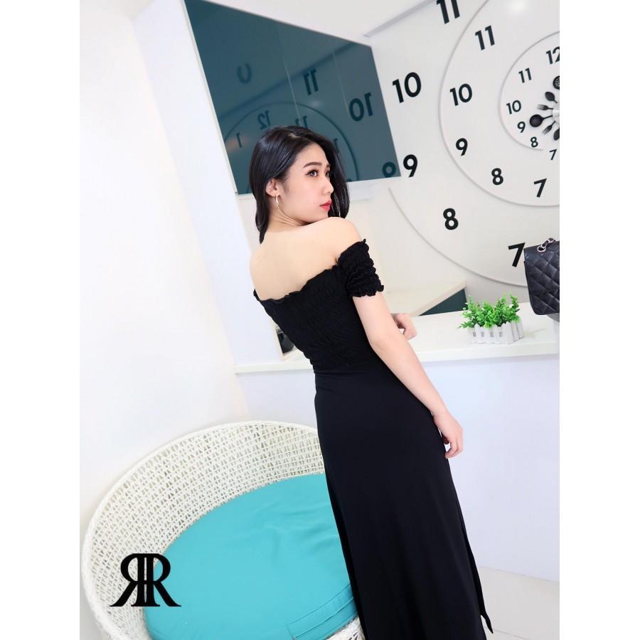 996179c7834 Reisshop-Elegant solid color slitted collar dinner dress