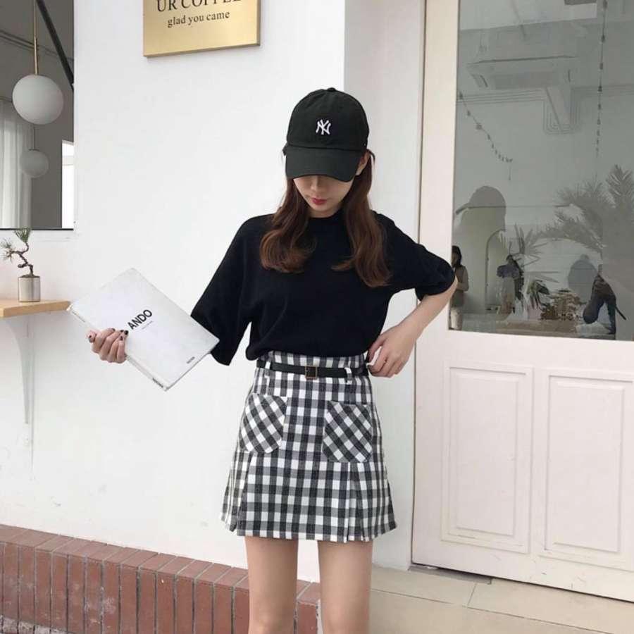cf1bec8c84 Reisshop-Korean black high waist plaid skirt