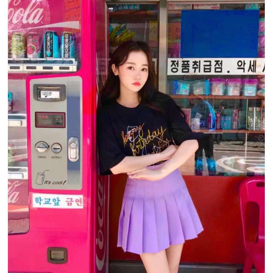高腰紫色百褶网球短裤裙