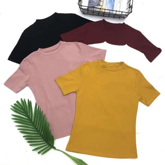 【预购】半高领纯色短袖上衣