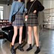 韩版蓝色毛呢格子半身裤裙
