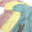 排扣宽松甜美格子连衣裙