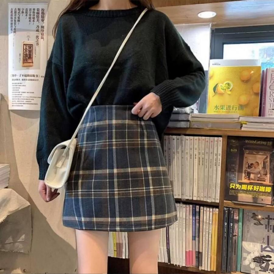 韩版黑色毛呢格子半身裤裙