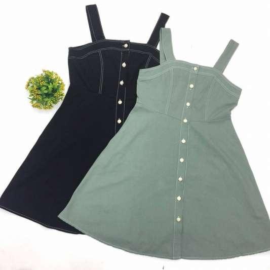纯色甜美排扣连衣裙
