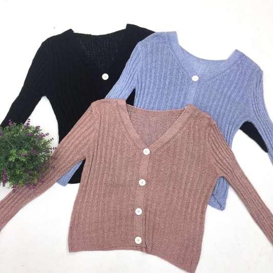 针织镂空纯色长袖上衣