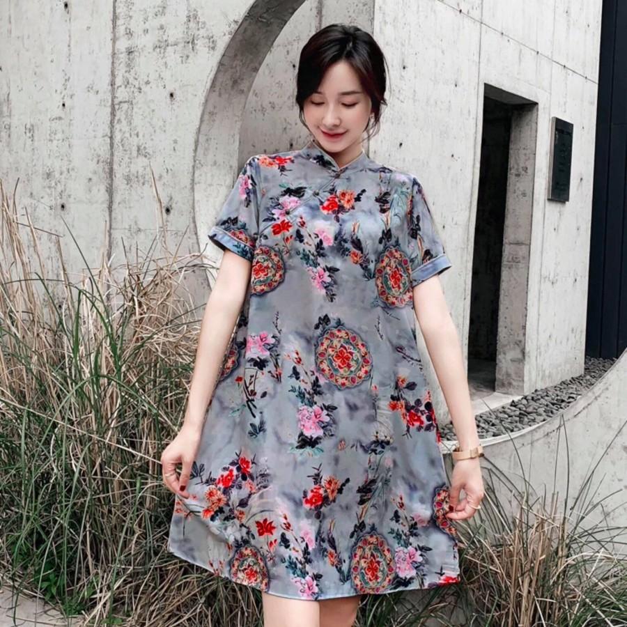 中国风宽松印花旗袍