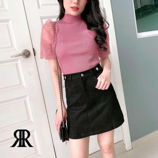 黑色高腰A字半身裙