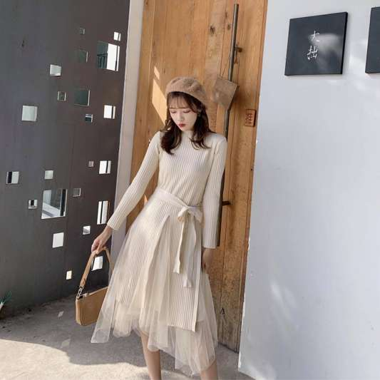针织开叉长版上衣+网纱不规则半身裙套装