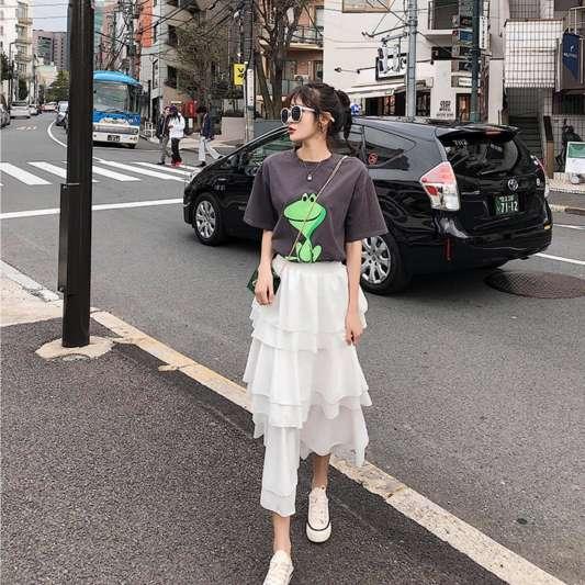 可爱青蛙T恤+蛋糕半身裙套装