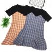 假两件格子鱼尾连衣裙