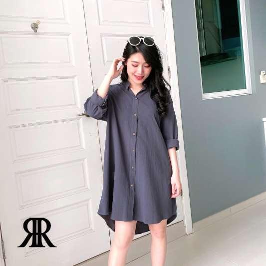 个性长版衬衫连衣裙