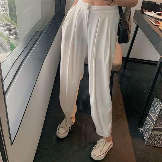 白色高腰西装长裤