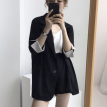 OL五分袖衬衫上衣+松紧腰阔腿短裤套装
