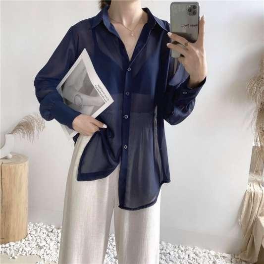 深蓝色翻领雪纺宽松衬衫