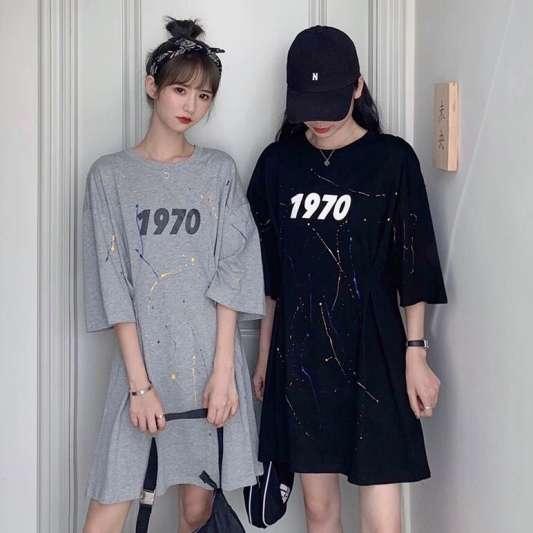 韩版涂鸦印花T恤连衣裙