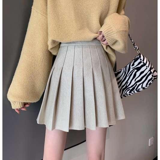 灰色甜美百褶纯色半身裙