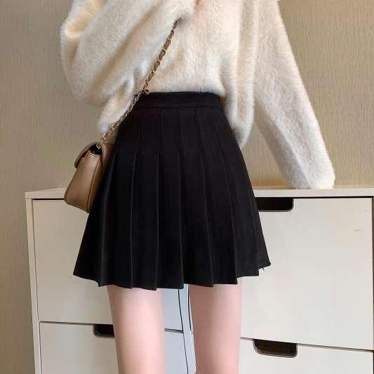 黑色甜美百褶纯色半身裙