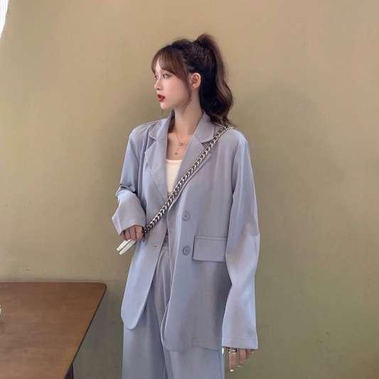 高端西装开衫外套+松紧腰垂感长裤套装
