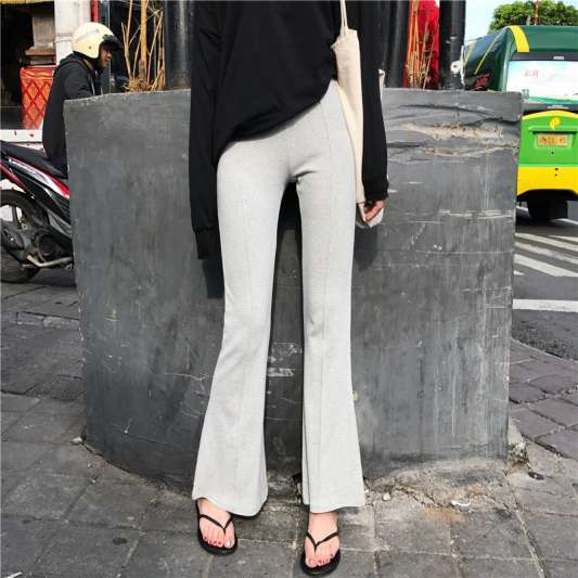 潮款高腰显瘦修身微喇叭裤