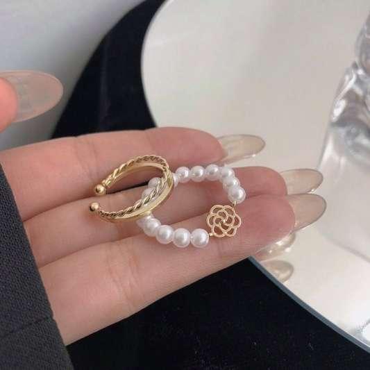 珍珠山茶花两只装指环