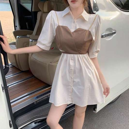 复古Polo领两件式衬衫连衣裙