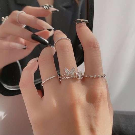 超仙蝴蝶扭曲四件套指环