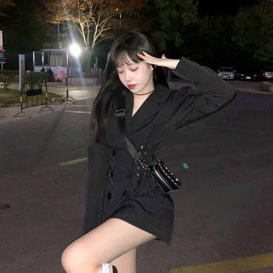 韩风双排扣系带显瘦西装连衣裙
