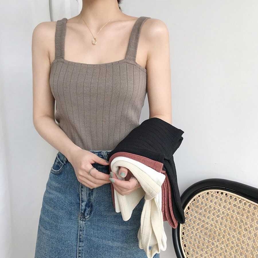 韩版针织吊带短版上衣