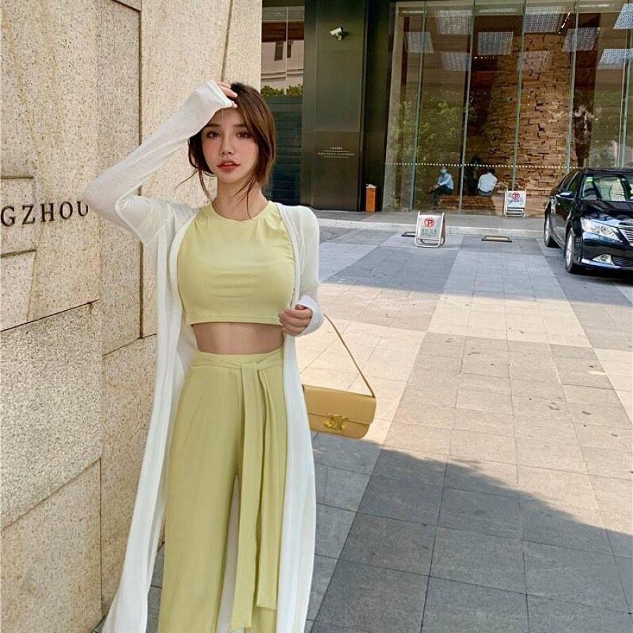 韩系修身短版上衣+垂感阔腿裤子套装