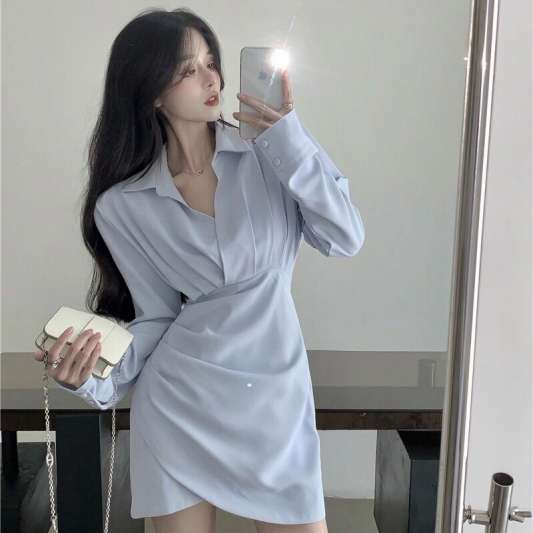 韩系V领收腰衬衫连衣裙