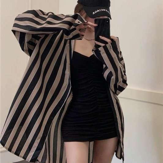 复古韩版条纹宽松衬衫