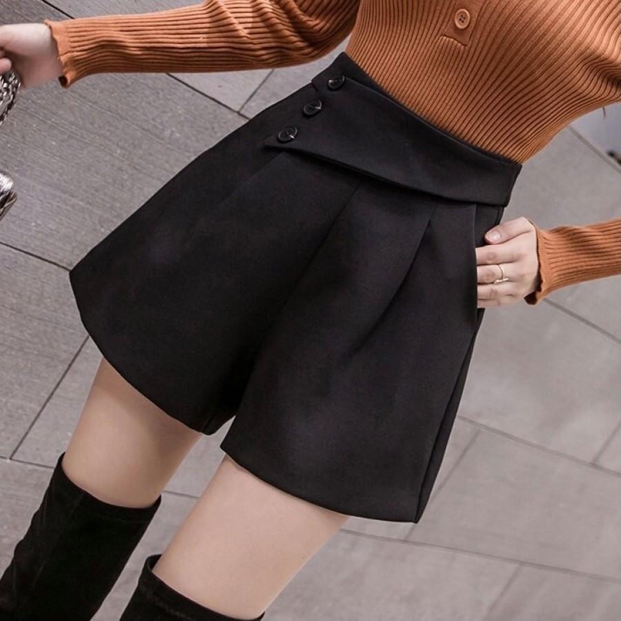 韩系高腰阔腿短裤