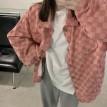 时髦潮款格子oversize衬衫外套