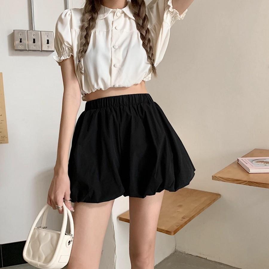 黑色花苞垂感阔腿短裤