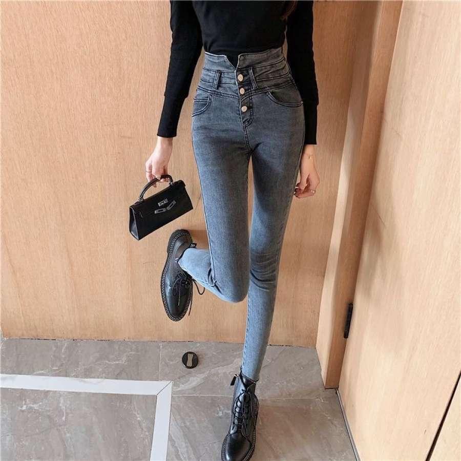 复古高腰V型牛仔长裤