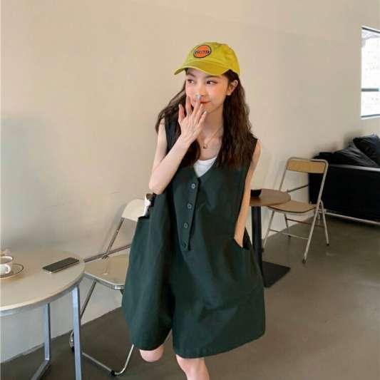 韩版宽松阔腿工装连体裤