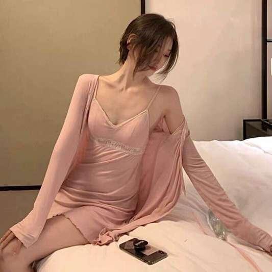 开衫外套+蕾丝吊带连衣裙睡衣套装