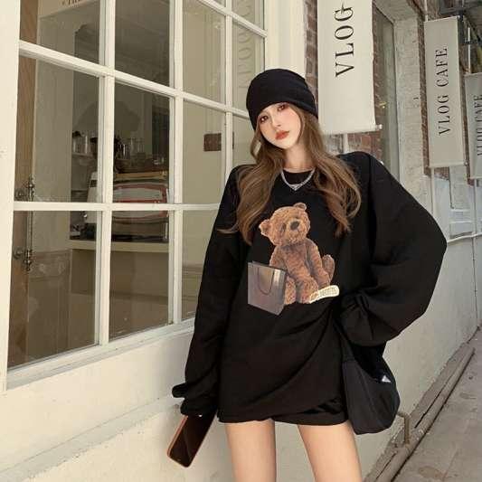 卡通小熊慵懒风oversize卫衣