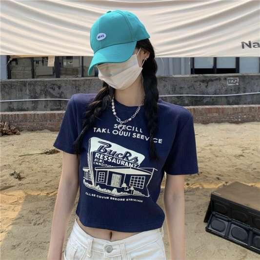 韩风印图短版T恤