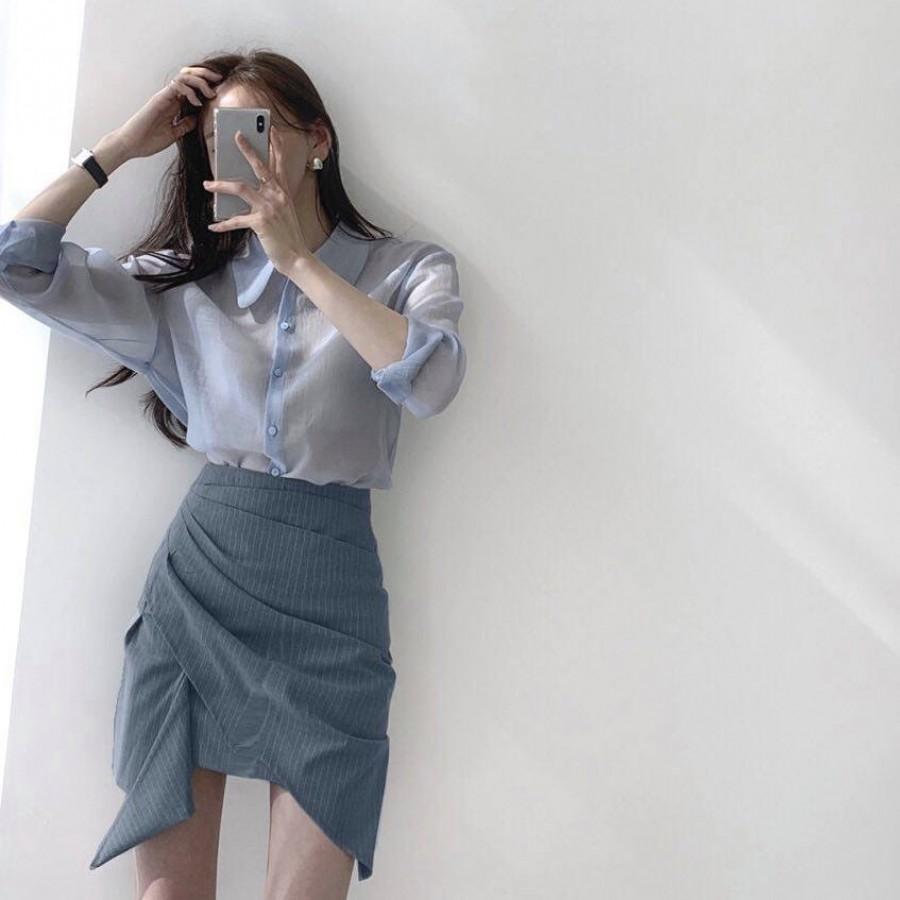 蓝色不规则包臀半身裙